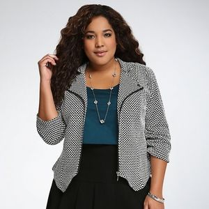 Torrid Black & White Checkered Print Knit Jacket 4